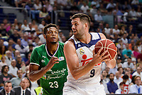 Real Madrid's Felipe Reyes and Unicaja Malaga's Jeff Brooks during semi finals of playoff Liga Endesa match between Real Madrid and Unicaja Malaga at Wizink Center in Madrid, June 02, 2017. Spain.<br /> (ALTERPHOTOS/BorjaB.Hojas)