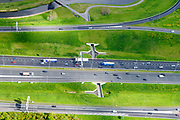 Nederland, Zuid-Holland, Gemeente Den Haag, 28-04-2017; knooppunt Prins Clausplein, kruising A12 met A4. Tunnel voor fietsers.<br /> Prins Claus junction.<br /> <br /> luchtfoto (toeslag op standard tarieven);<br /> aerial photo (additional fee required);<br /> copyright foto/photo Siebe Swart