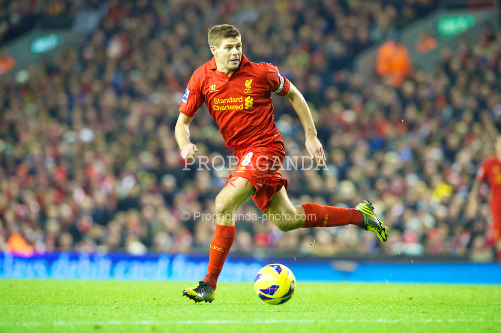 LIVERPOOL, ENGLAND - Sunday, November 4, 2012: Liverpool's captain Steven Gerrard in action on his 600th appearance for the club, during the Premiership match against Newcastle United at Anfield. (Pic by David Rawcliffe/Propaganda)