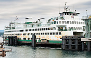 The Hyak, a Washington State Ferry, docks at Friday Harbor Terminal on San Juan Island, Washington, USA
