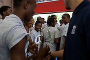 {June 27, 2012} {4:00pm} -- New York, NY, U.S.A.Duke basketball star Austin Rivers is surrounded by an excited group of Dunlevy Milbank Boys & Girls Club members in Harlem before the NBA draft Thursday in Manhattan, New York on June 27, 2012. .