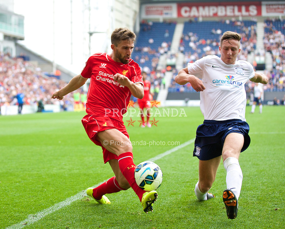 PRESTON, ENGLAND - Saturday, July 19, 2014: Liverpool's Fabio Borini in action against Preston North End during a preseason friendly match at Deepdale Stadium. (Pic by David Rawcliffe/Propaganda)