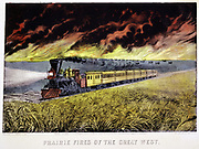Prairie Fires of the Great West. Print published by Currier & Ives, New York 1871. Locomotive with cowcatcher and headlamp hauls passenger train across prairie while buffalo stampede in face of fire. Lithograph.