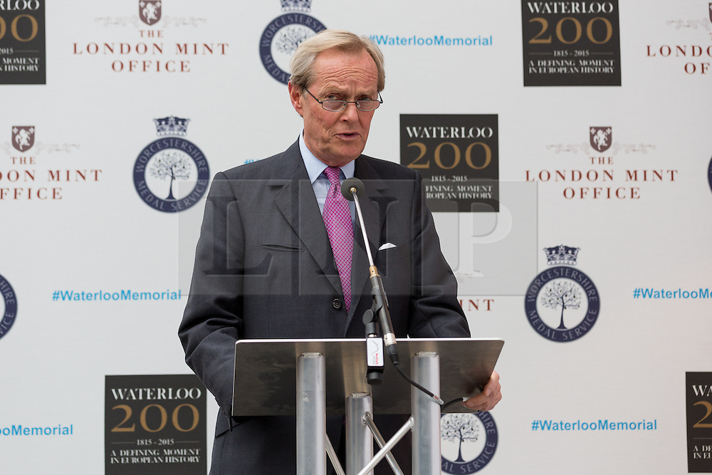 © Licensed to London News Pictures. 10/06/2015. London, UK. The 9th Duke of Wellington, CHARLES WELLESLEY makes a speech at the Battle of Waterloo memorial unveling at Waterloo station in London. Photo credit : Vickie Flores/LNP