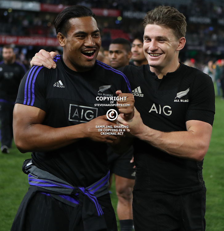 DURBAN, SOUTH AFRICA, 8 October, 2016 - Julian Savea with Beauden Barrett of New Zealand during the Rugby Championship match between South Africa and New Zealand at Kings Park in Durban, South Africa. (Photo by Steve Haag)