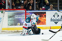 KELOWNA, CANADA - JANUARY 26: Roman Basran #30 of the Kelowna Rockets makes a second period save against the Vancouver Giants  on January 26, 2019 at Prospera Place in Kelowna, British Columbia, Canada.  (Photo by Marissa Baecker/Shoot the Breeze)