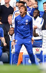 David Luiz of Chelsea celebrates chelsea's second goal. - Mandatory by-line: Alex James/JMP - 12/08/2017 - FOOTBALL - Stamford Bridge - London, England - Chelsea v Burnley - Premier League