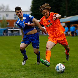 Gloucesters Ben Wyatt on the ball during the Vanorama National League South match between Braintree Town FC and Gloucester City FC at the IronmongeryDirect Stadium, Essex on 28 April 2018. Photo by Matt Bristow.