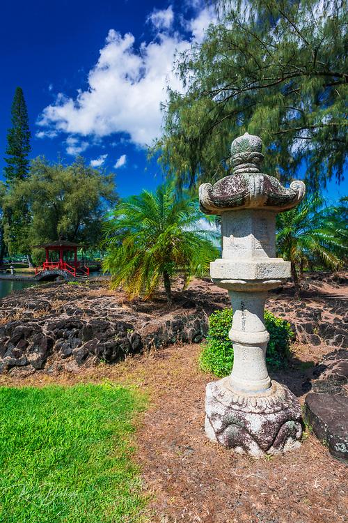 Japanese lantern and bridge at Lili'uokalani Park and garden, Hilo, The Big Island, Hawaii USA