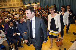 © Licensed to London News Pictures. 06/06/2015. London, UK. Candidates arrive on stage L to R Andy Burnham, Yvette Cooper, Liz Kendall and Mary Creagh. Current Labour Leadership candidates attend a debate at the Fabien Society Conference, held at the institute of Education in London. Photo credit: Ben Cawthra/LNP