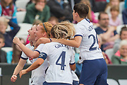Lucy Quinn (Tottenham Hotspur) celebrates her goal during the FA Women's Super League match between West Ham United Women and Tottenham Hotspur Women at the London Stadium, London, England on 29 September 2019.