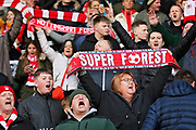 Forest fans singing  before the EFL Sky Bet Championship match between Nottingham Forest and Blackburn Rovers at the City Ground, Nottingham, England on 13 April 2019.