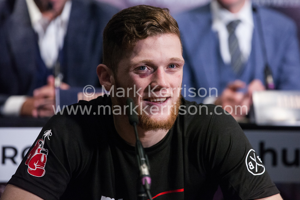 London, UK. 14th January, 2019. Montrose Super Middleweight John Docherty speaks at the press conference for a Matchroom Boxing card at the 02 on 2nd February where he will fight on a bill headed by a European Super-Welterweight Championship contest between Sergio Garcia and Ted Cheeseman.