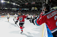 KELOWNA, CANADA - DECEMBER 3: Nick Merkley #10 of the Kelowna Rockets celebrates a goal against the Brandon Wheat Kings on December 3, 2016 at Prospera Place in Kelowna, British Columbia, Canada.  (Photo by Marissa Baecker/Shoot the Breeze)  *** Local Caption ***