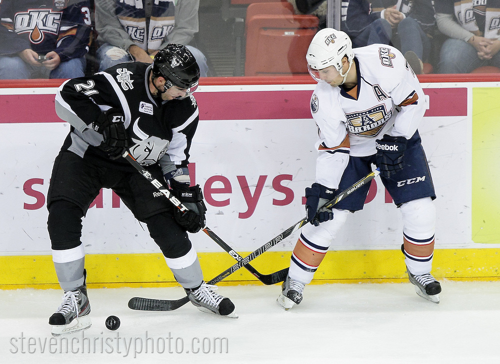 December 15, 2012: The Oklahoma City Barons play the San Antonio Rampage in an American Hockey League game at the Cox Convention Center in Oklahoma City.
