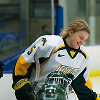 3rd year forward Jaycee Magwood (5) of the Regina Cougars in action during the Women's Hockey Homeopener on October 7 at Co-operators arena. Credit: Arthur Ward/Arthur Images