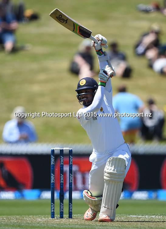 Dinesh Chandimal batting on day 1 of the 2nd cricket test match between New Zealand Black Caps and Sri Lanka at Seddon Park in Hamilton, New Zealand. Friday 18 December 2015. Copyright photo: Andrew Cornaga / www.photosport.nz