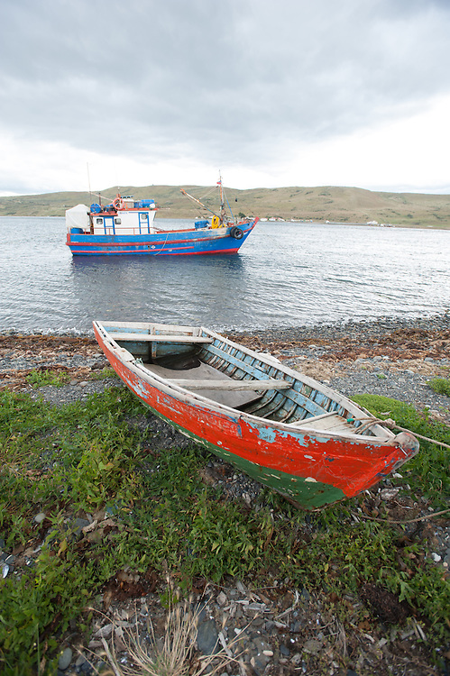 fishing boat, Strait of Magellan, chile, south america