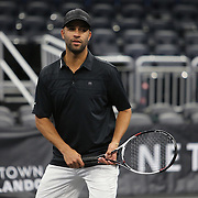 Tennis professional James Blake is seen during the PowerShares Tennis Series event at the Amway Center on January 5, 2017 in Orlando, Florida. (Alex Menendez via AP)