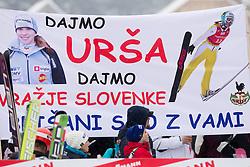 Fans of Ursa Bogataj of Slovenia during Normal Hill Individual Competition at FIS World Cup Ski jumping Ladies Ljubno 2012, on February 12, 2012 in Ljubno ob Savinji, Slovenia. (Photo By Vid Ponikvar / Sportida.com)