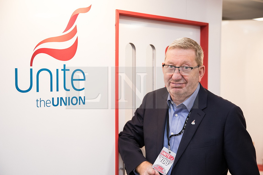 © Licensed to London News Pictures . 24/09/2017. Brighton, UK. LEN MCCLUSKEY at the conference . The first day of the Labour Party Conference in and around The Brighton Centre . Photo credit: Joel Goodman/LNP