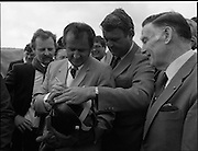 Cork / Dublin Gas Pipeline.28.04.1982.04.28.1982.28th April 1982.1982...At Brownbarn,Kingswood,Dublin the Minister for Industry and Energy, Mr Albert Reynolds T.D. performed the ceremonial first weld to officially start the project..Minister Reynolds autographs the welders mask to commemorate the occasion.