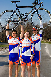 Virginia Cavaliers Conference Women's Champion Cate McLean with teammates Stephen DeLisle (left) and Michael Esbach (right)..Members of the University of Virginia Cycling Team met at Reeds Gap on the Blue Ridge Parkway in Virginia on April 9, 2007 for a team photo shoot.