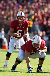 PALO ALTO, CA - OCTOBER 06: Quarterback Josh Nunes #6 of the Stanford Cardinal stands behind the line of scrimmage before a play against the Arizona Wildcats during the fourth quarter at Stanford Stadium on October 6, 2012 in Palo Alto, California. The Stanford Cardinal defeated the Arizona Wildcats 54-48 in overtime. (Photo by Jason O. Watson/Getty Images) *** Local Caption *** Josh Nunes