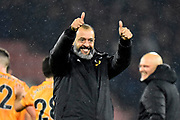 Wolverhampton Wanderers manager Nuno Espirito Santo give a thumbs up as he celebrates the 2-1 win at full time during the Premier League match between Bournemouth and Wolverhampton Wanderers at the Vitality Stadium, Bournemouth, England on 23 November 2019.