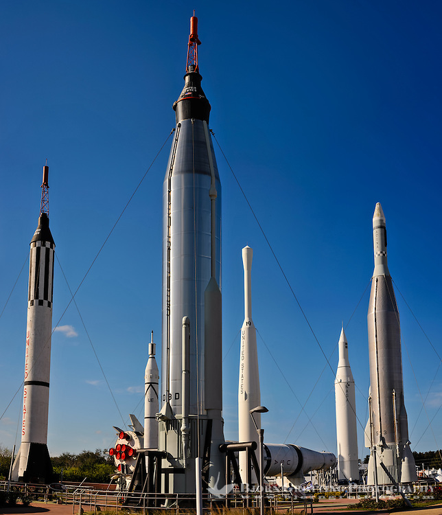 US, Florida. John F. Kennedy Space Center. Rocket Garden at the Visitor Complex. From left: Mercury-Redstone, Saturn IB (in background), Juno I, Mercury-Atlas, Thor-Delta,Juno II, and Atlas-Agena. Stitched panorama.