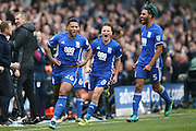 Birmingham City  midfielder David Davis (26) scores a goal and celebrates to make the score 1-1 during the EFL Sky Bet Championship match between Birmingham City and Aston Villa at St Andrews, Birmingham, England on 30 October 2016. Photo by Simon Davies.