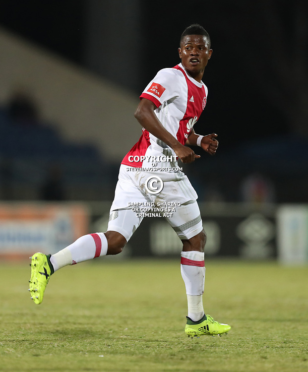 DURBAN, SOUTH AFRICA - AUGUST 23: Rodrick Kabwa of Ajax Cape Town during the Absa Premiership match between Maritzburg United and Ajax Cape Town at Harry Gwala Stadium on August 23, 2017 in Durban, South Africa. (Photo by Steve Haag/Gallo Images)
