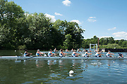 """Henley on Thames, United Kingdom, 22nd June 2018, Friday,   """"Henley Women's Regatta"""",  view, Start of an afternoon heat of the Women's Eights on Henley Reach, River Thames, England, © Peter SPURRIER/Alamy Live News"""