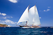 Aschanti IV sailing in the 2010 Antigua Classic Yacht Regatta, Windward Race, day 4.
