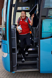 CARDIFF, WALES - Friday, August 19, 2016: Wales' Kayleigh Green arrives at Rodney Parade ahead of the international friendly match against Republic of Ireland at Rodney Parade. (Pic by David Rawcliffe/Propaganda)