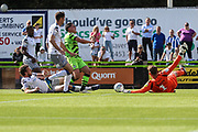 A penalty appeal after Forest Green Rovers Jack Aitchison(29), on loan from Celtic is brought down during the EFL Sky Bet League 2 match between Forest Green Rovers and Colchester United at the New Lawn, Forest Green, United Kingdom on 14 September 2019.