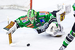 08.10.2013, Hala Tivoli, Ljubljana, SLO, EBEL, HDD Olimpija Ljubljana vs UPC Vienna Capitals, 18.Runde, im Bild Jerry Kuhn covers a puck (HDD Olimpija, #35) // during the Erste Bank Icehockey League 18th Game Day match between HDD Telemach Olimpija Ljubljana and UPC Vienna Capitals at the Hala Tivoli, Ljubljana, Slovenia on 2013/10/08. EXPA Pictures © 2013, PhotoCredit: EXPA/ Sportida/ Matic Klansek Velej<br /> <br /> ***** ATTENTION - OUT OF SLO *****