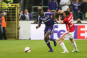 Anderlecht Defender Dennis Appiah battles with Matteo Darmian Defender of Manchester United during the UEFA Europa League Quarter-final, Game 1 match between Anderlecht and Manchester United at Constant Vanden Stock Stadium, Anderlecht, Belgium on 13 April 2017. Photo by Phil Duncan.