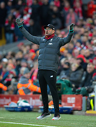 LIVERPOOL, ENGLAND - Saturday, November 30, 2019: Liverpool's manager Jürgen Klopp reacts during the FA Premier League match between Liverpool FC and Brighton & Hove Albion FC at Anfield. (Pic by David Rawcliffe/Propaganda)