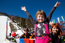 Young supporters during Ski Flying Hill Team Competition at Day 3 of FIS Ski Jumping World Cup Final 2016, on March 19, 2016 in Planica, Slovenia. Photo by Vid Ponikvar / Sportida