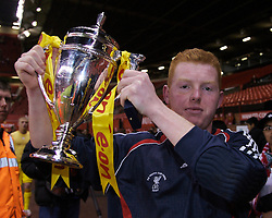 Manchester, England - Thursday, April 26, 2007: Liverpool's penalty saving hero, goalkeeper David Roberts, celebrates with the trophy after beating Manchester United on penalties to win the FA Youth Cup for the second successive year during the FA Youth Cup Final 2nd Leg at Old Trafford. (Pic by David Rawcliffe/Propaganda)