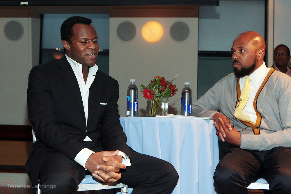 27 April 2011- New York,  NY-  l to r: Geoffrey Fletcher and Brickson Diamond at The Blackhouse Foundation celebrates Tribeca Film Institute's 2011 TAA Participants w/ Oscar Winner Geoffrey Fletcher held the Helen Mills Event Space on April 27, 2011 in New York City. Photo Credit: Terrence Jennings
