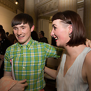 13.06.2016<br /> Liadán Scott Keogh winner of the IFIL, AIB Graduate Business Development Award worth €5,000 which includes a three-month paid work experience with leading London-based Irish Fashion Designer Richard Malone at the much anticipated Limerick School of Art & Design, LIT, (LSAD) Graduate Fashion Show on Thursday 12th May 2016 is pictured with designer Richard Malone. Picture: Alan Place/Fusionshooters