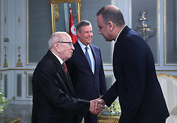 November 10, 2018 - Carthage, Tunisia - Handshake with the president of the Tunisian Football Federation (FTT) Wadii El Jari .....The president of the republic Beji Caid Essebsi received at Carthage Palace the delegation of Esperance Sportive de Tunis (EST) after his victory by 3-0 against Al Ahly of Egypt in the final of the League of African CAF Champions Total (Credit Image: © Chokri Mahjoub/ZUMA Wire)