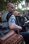 An accordionist in The Old Aker Band (Gamle Aker Spelemannslag), a Norwegian accordion band, playing in Accordions Around the World in Bryant Park.