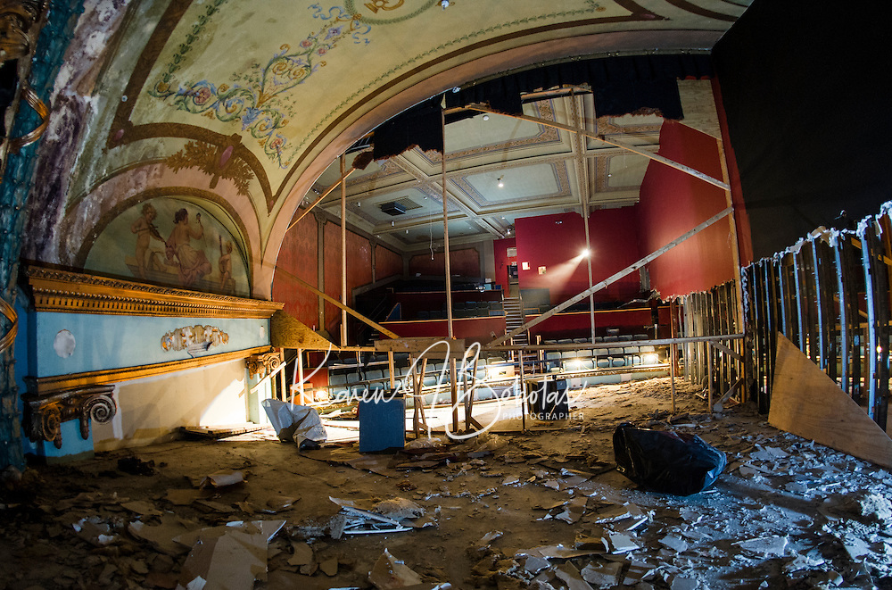 Renovation work done by Bonnette, Page and Stone at the Colonial Theater in downtown Laconia. Upper Balcony from stage area.    ©2016 Karen Bobotas Photographer