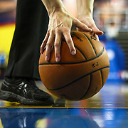 Game Referee Lauren Holtkamp using her hands to retrieve the ball in the second half of a NBA D-league regular season basketball game between the Delaware 87ers (76ers) and the Iowa Energy Tuesday, Jan 14, 2014 at The Bob Carpenter Sports Convocation Center, Newark, DE