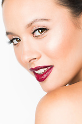 Close up of Young Woman with Dark red Lips