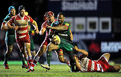 Vereniki Goneva of Leicester Tigers takes on the Gloucester defence - Photo mandatory by-line: Patrick Khachfe/JMP - Mobile: 07966 386802 13/02/2015 - SPORT - RUGBY UNION - Leicester - Welford Road - Leicester Tigers v Gloucester Rugby - Aviva Premiership