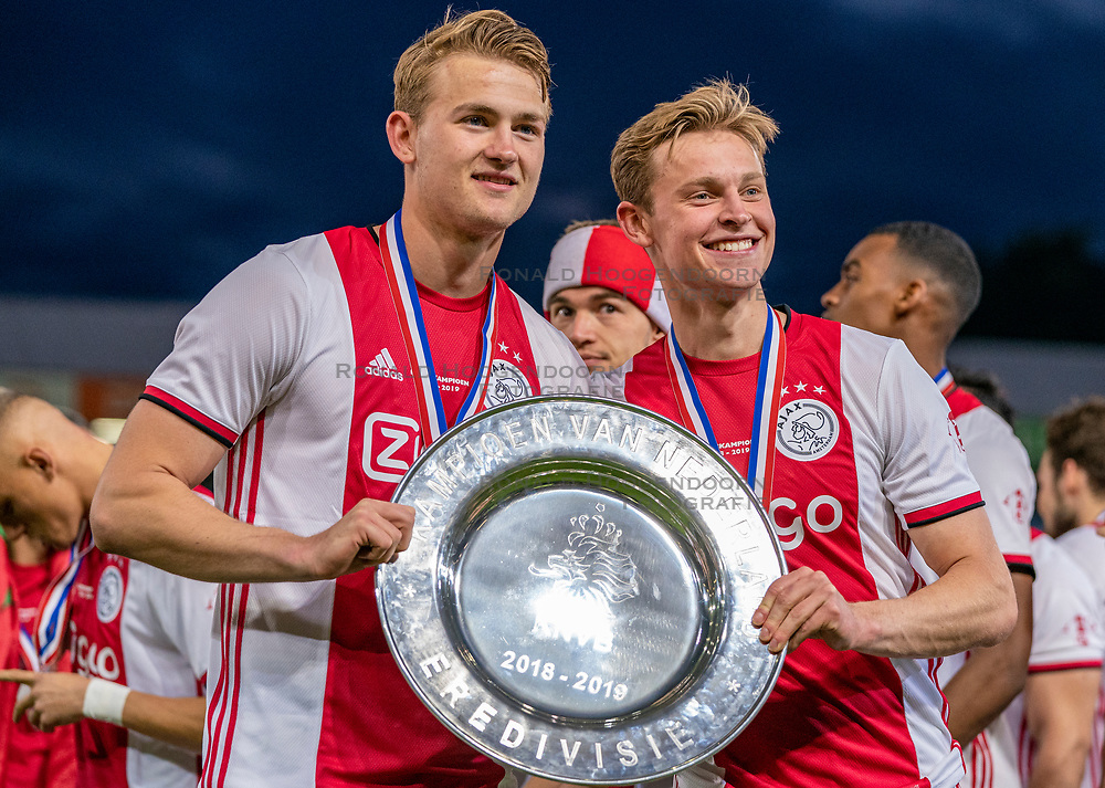 15-05-2019 NED: De Graafschap - Ajax, Doetinchem<br /> Round 34 / It wasn't really exciting anymore, but after the match against De Graafschap (1-4) it is official: Ajax is champion of the Netherlands / Matthijs de Ligt #4 of Ajax, Daley Blind #17 of Ajax